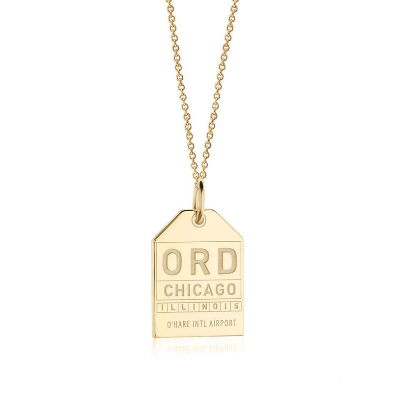 Gold USA Charm, ORD Chicago Luggage Tag - JET SET CANDY