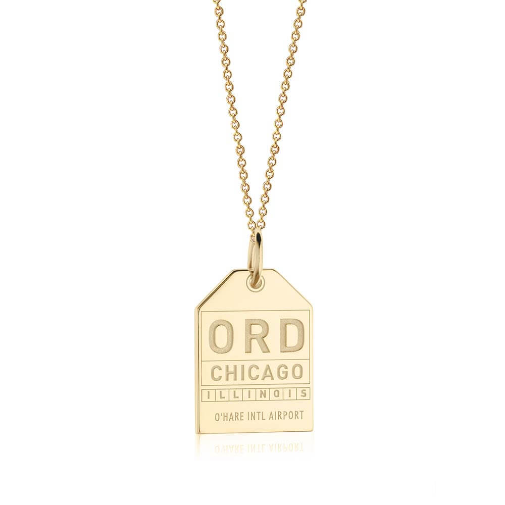 Solid Gold USA Charm, ORD Chicago Luggage Tag - JET SET CANDY