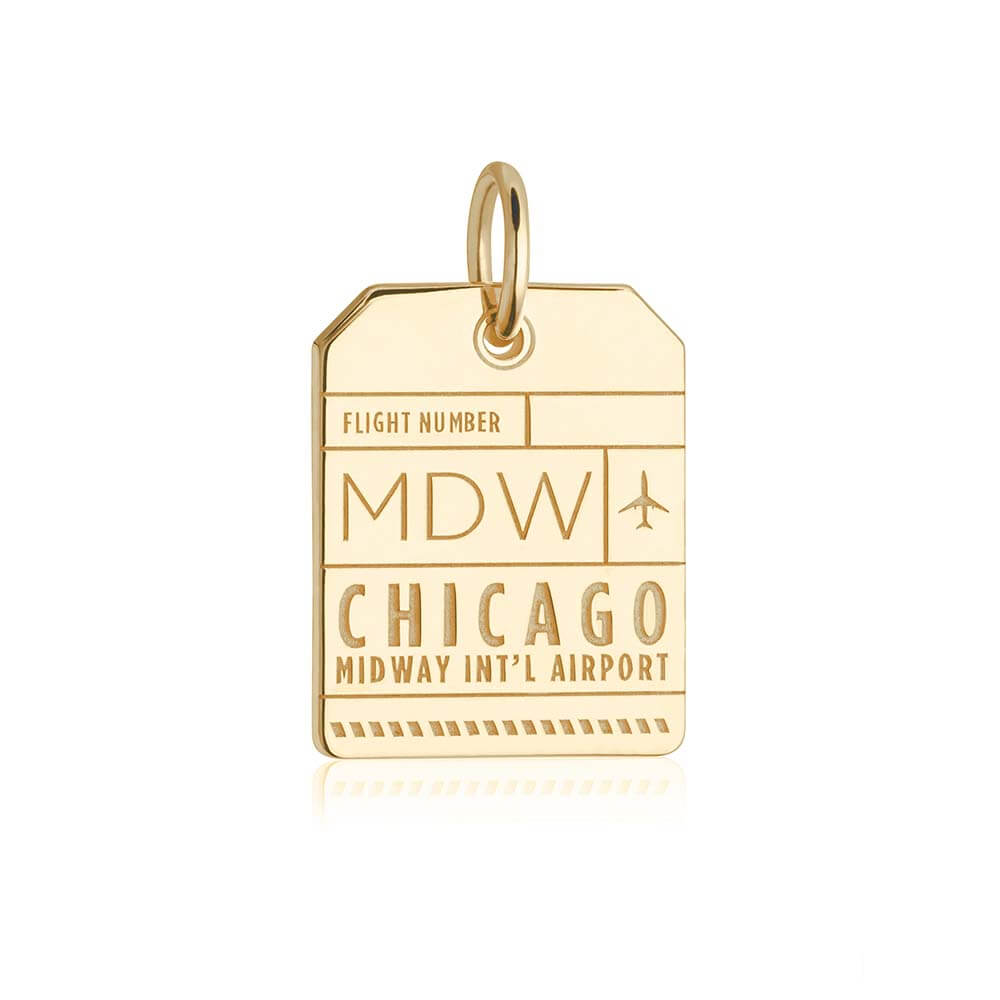 Gold USA Charm, MDW Chicago Luggage Tag - JET SET CANDY
