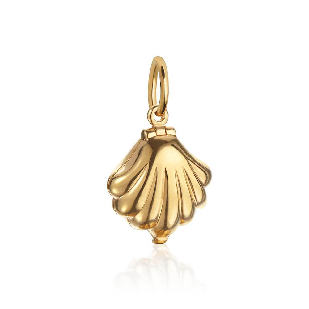 Solid Gold Clamshell Charm - JET SET CANDY