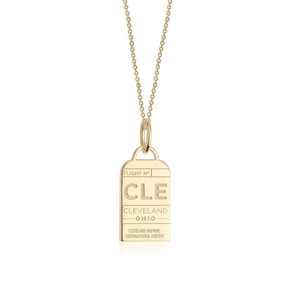 Gold Cleveland, Ohio CLE Luggage Tag Charm - JET SET CANDY