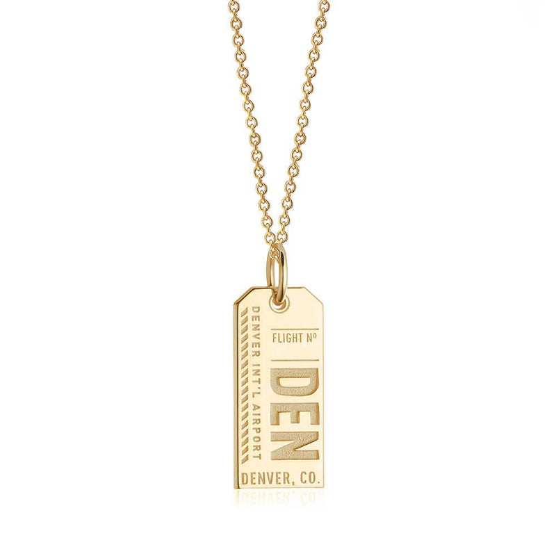 Gold USA Charm, DEN Denver, Colorado Luggage Tag - JET SET CANDY