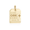 Gold Vermeil Ireland Charm, ORK Cork Luggage Tag - JET SET CANDY