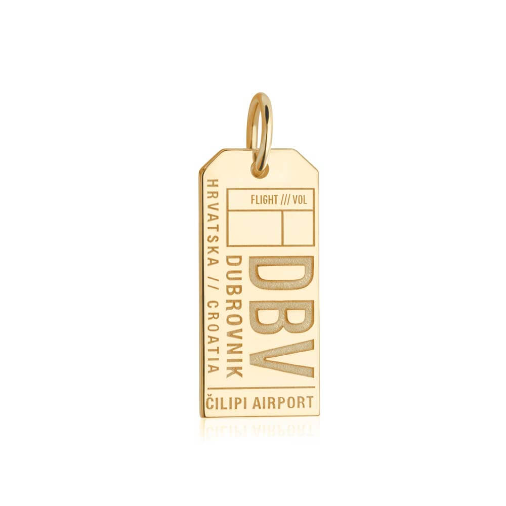Gold Vermeil Croatia Charm, DBV Dubrovnik Luggage Tag - JET SET CANDY