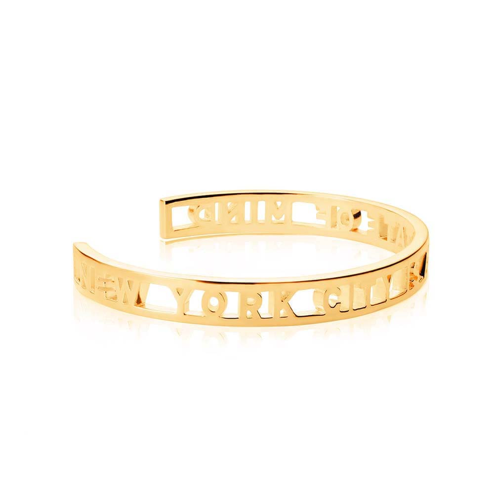 Gold New York City Cutout Cuff Bracelet (BACK ORDER-SHIPS LATE FEBRUARY) - JET SET CANDY