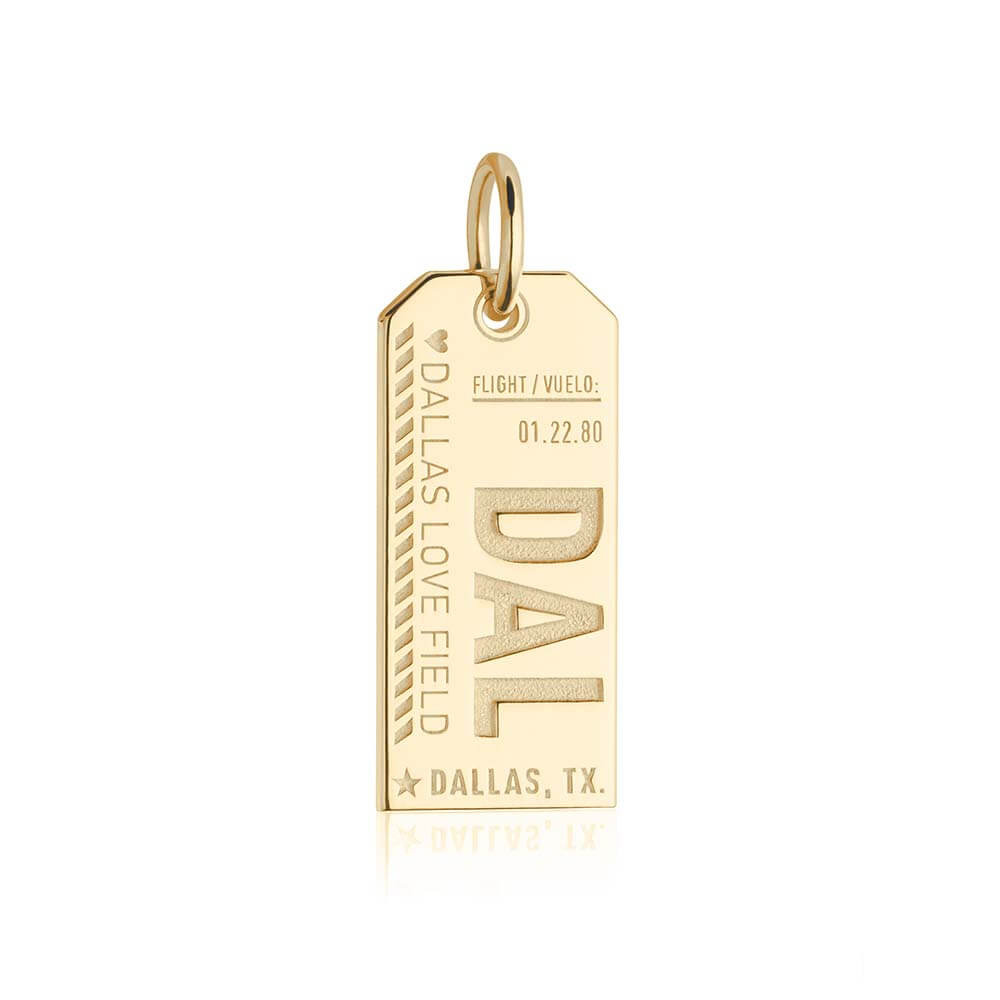Solid Gold Texas Charm, DAL Dallas Luggage Tag - JET SET CANDY