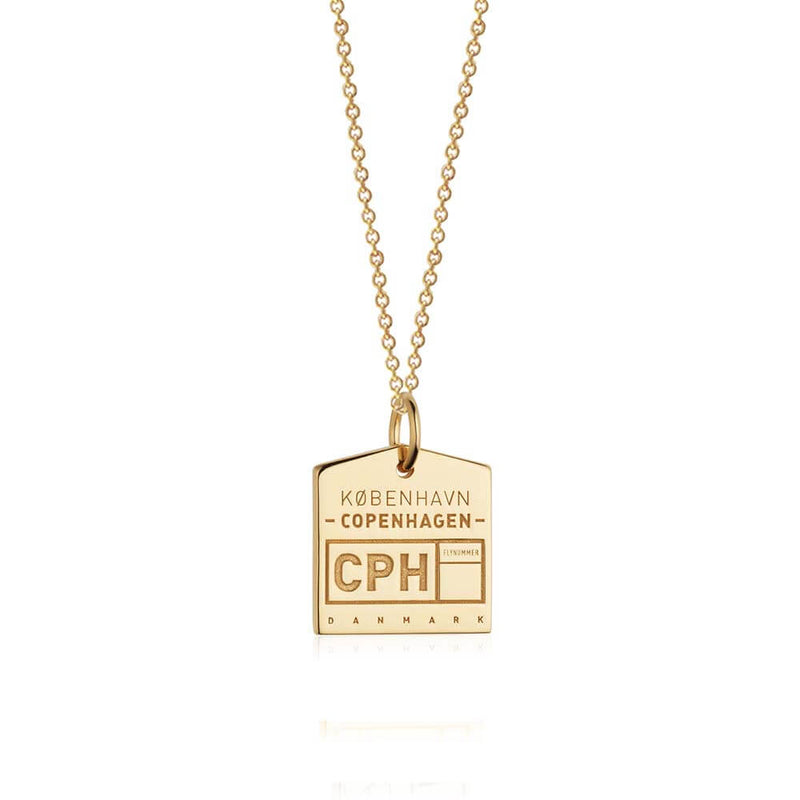 Gold Denmark Charm, CPH Copenhagen Luggage Tag - JET SET CANDY