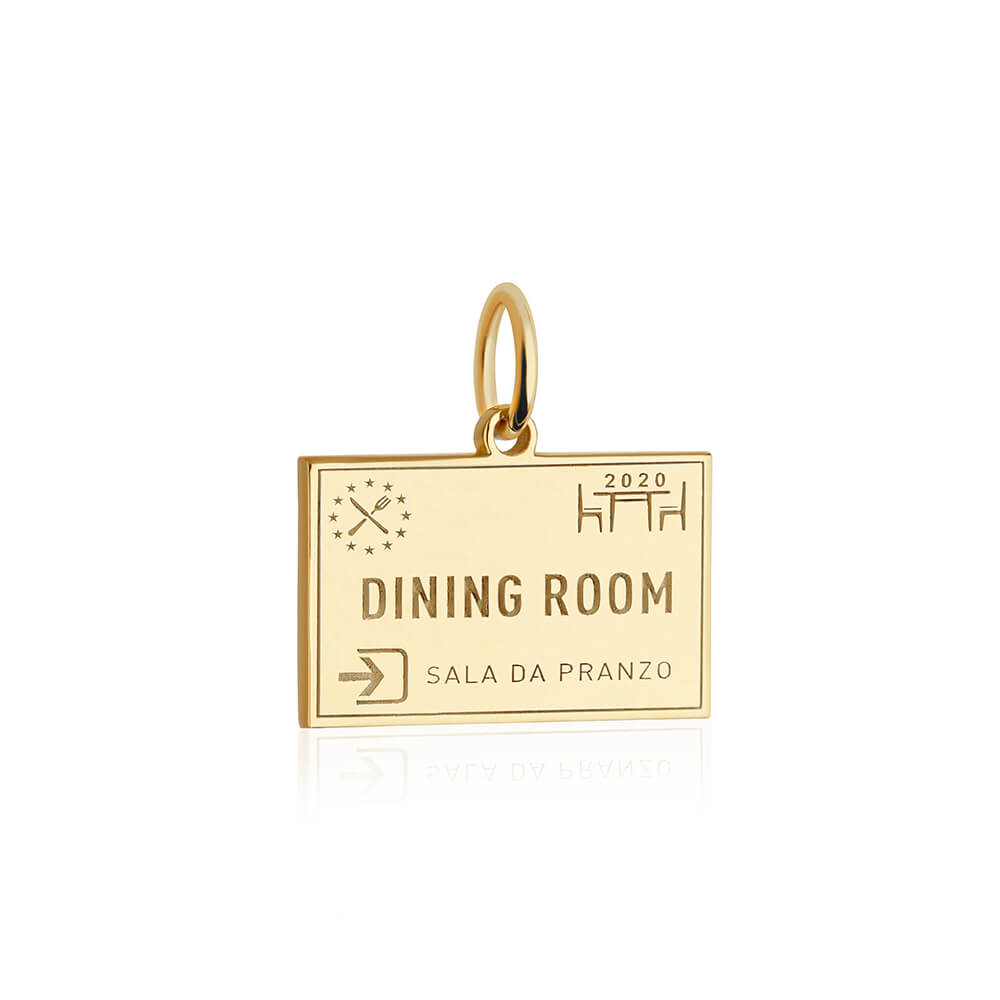 PRE ORDER: Solid Gold Dining Room Passport Stamp Charm (Allow 8 weeks)