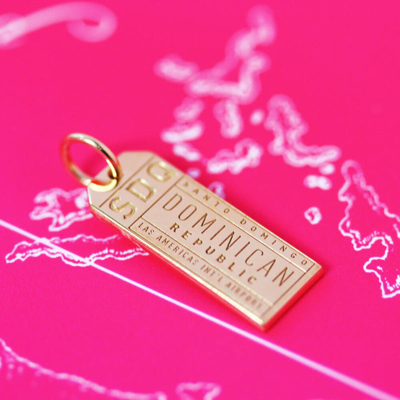 Gold Travel Charm, SDQ Santo Domingo Luggage Tag - JET SET CANDY
