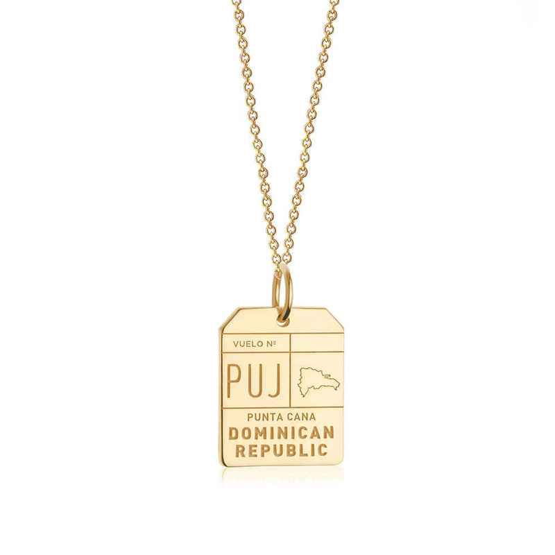 Gold Caribbean Charm, PUJ Punta Cana Luggage Tag - JET SET CANDY