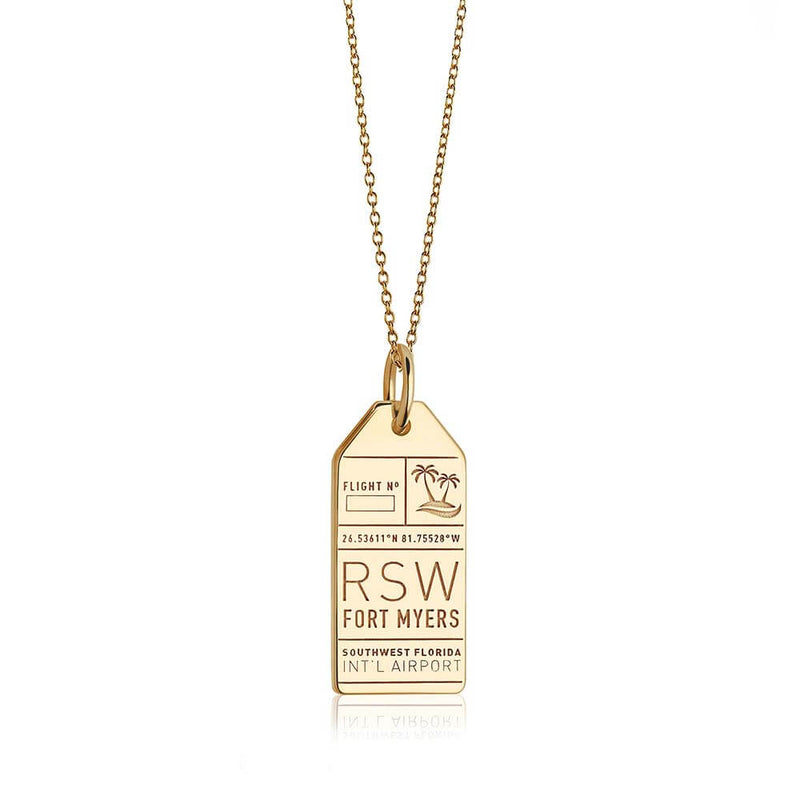 Gold USA Charm, RSW Fort Myers Luggage Tag - JET SET CANDY