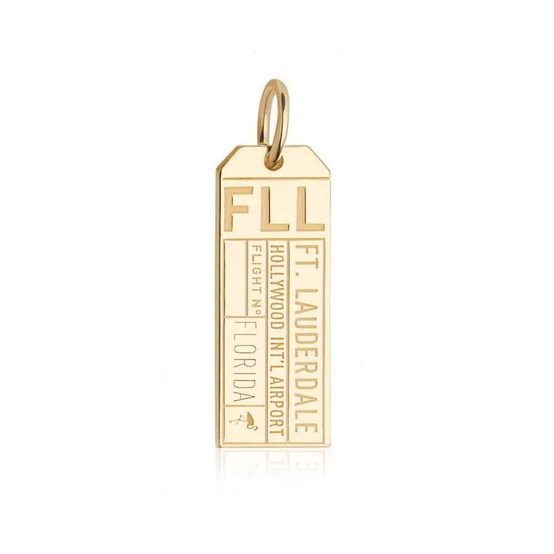 Gold USA Charm, FLL Fort Lauderdale Luggage Tag - JET SET CANDY