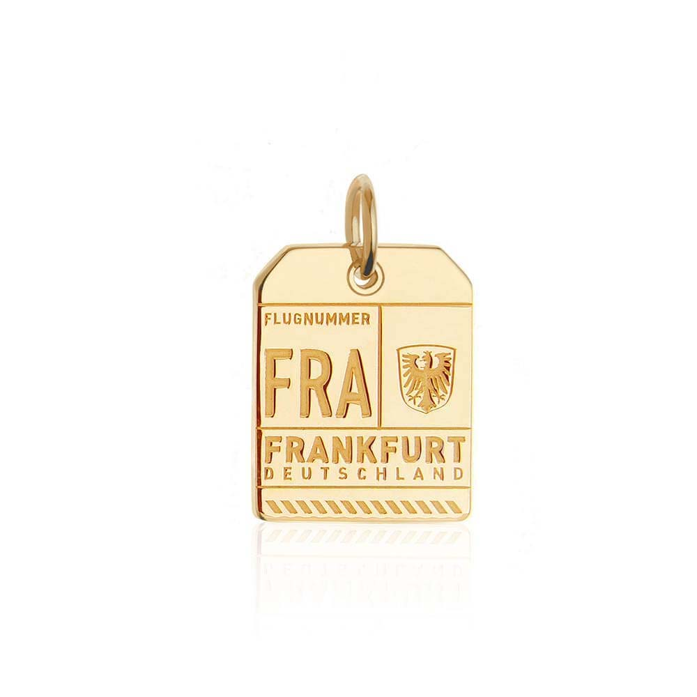 Gold Germany Charm, FRA Frankfurt Luggage Tag - JET SET CANDY