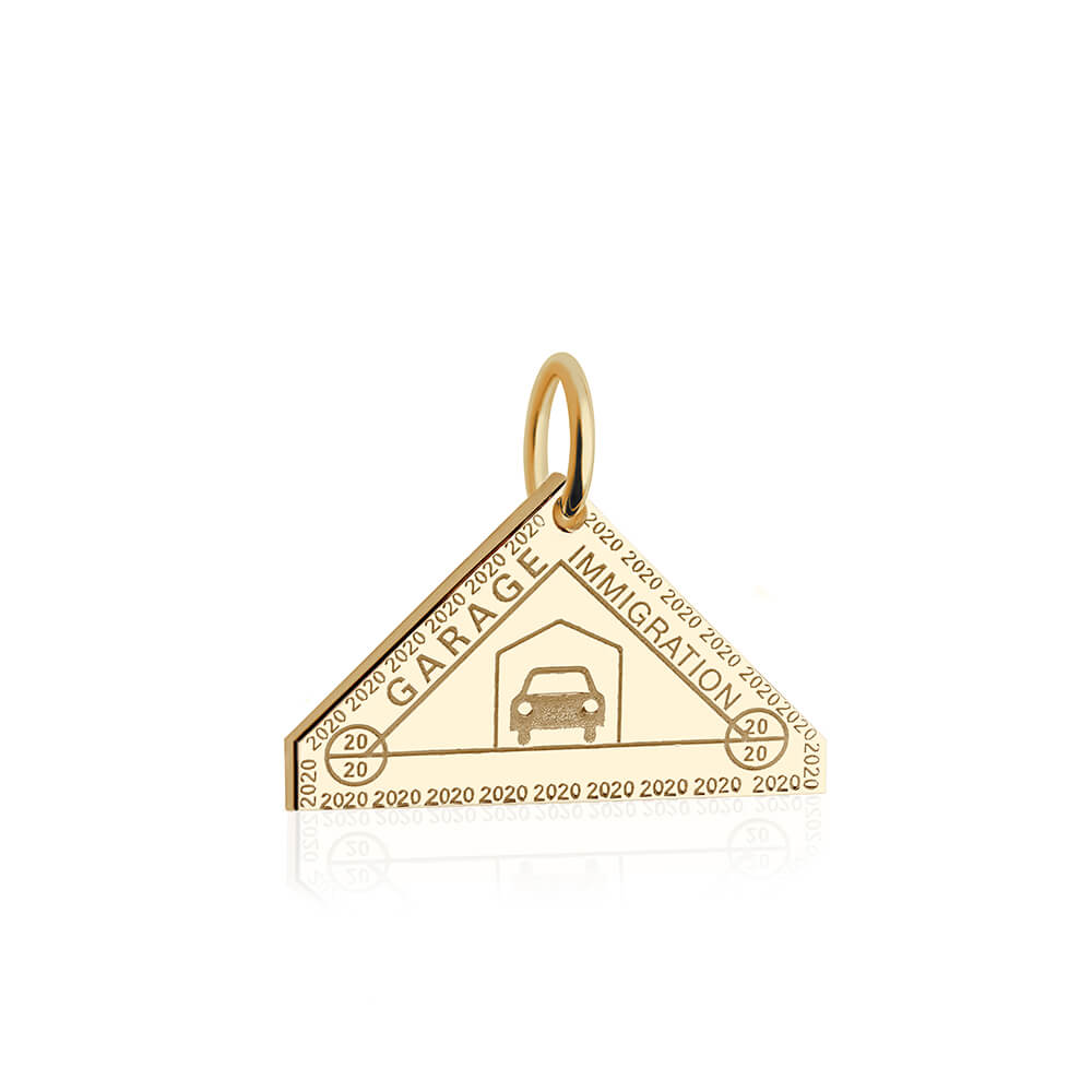 PRE ORDER: Solid Gold Garage Passport Stamp Charm (Allow 8 weeks)