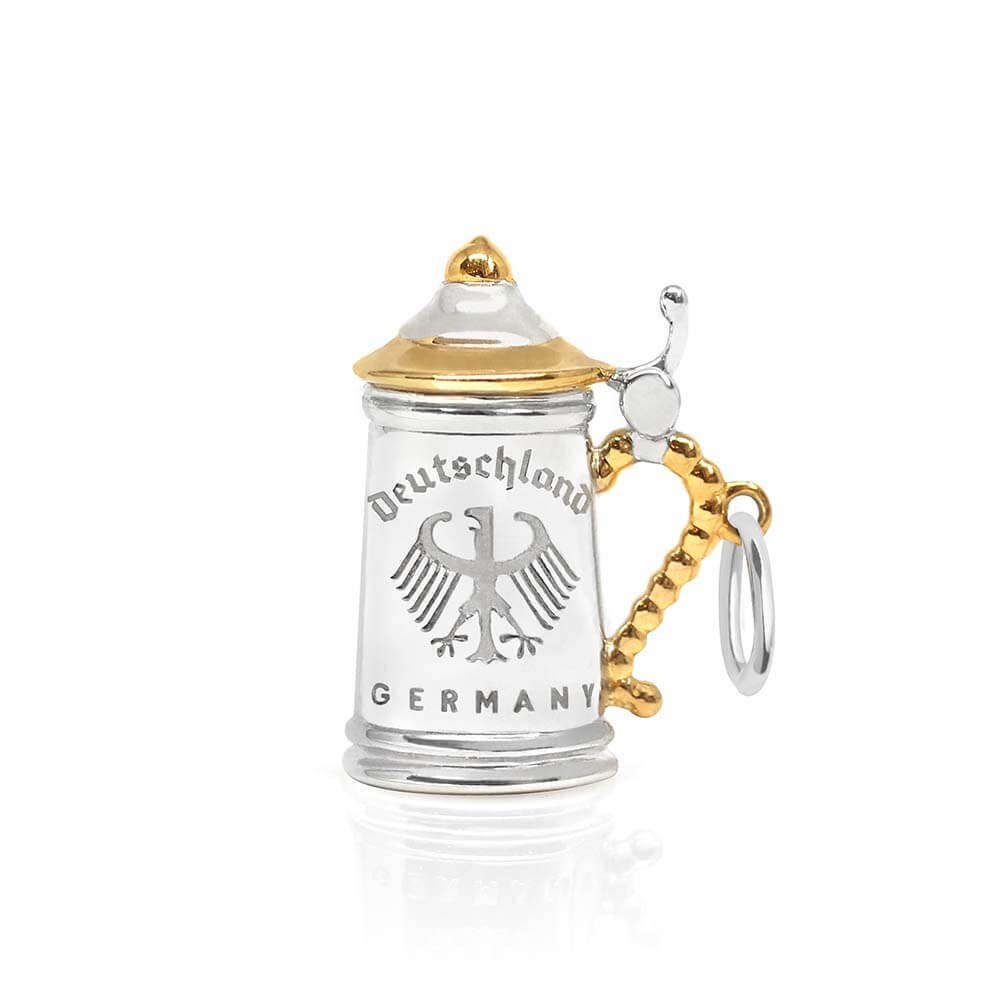 Gold and Silver Germany Charm, Two-Tone Beer Stein - JET SET CANDY