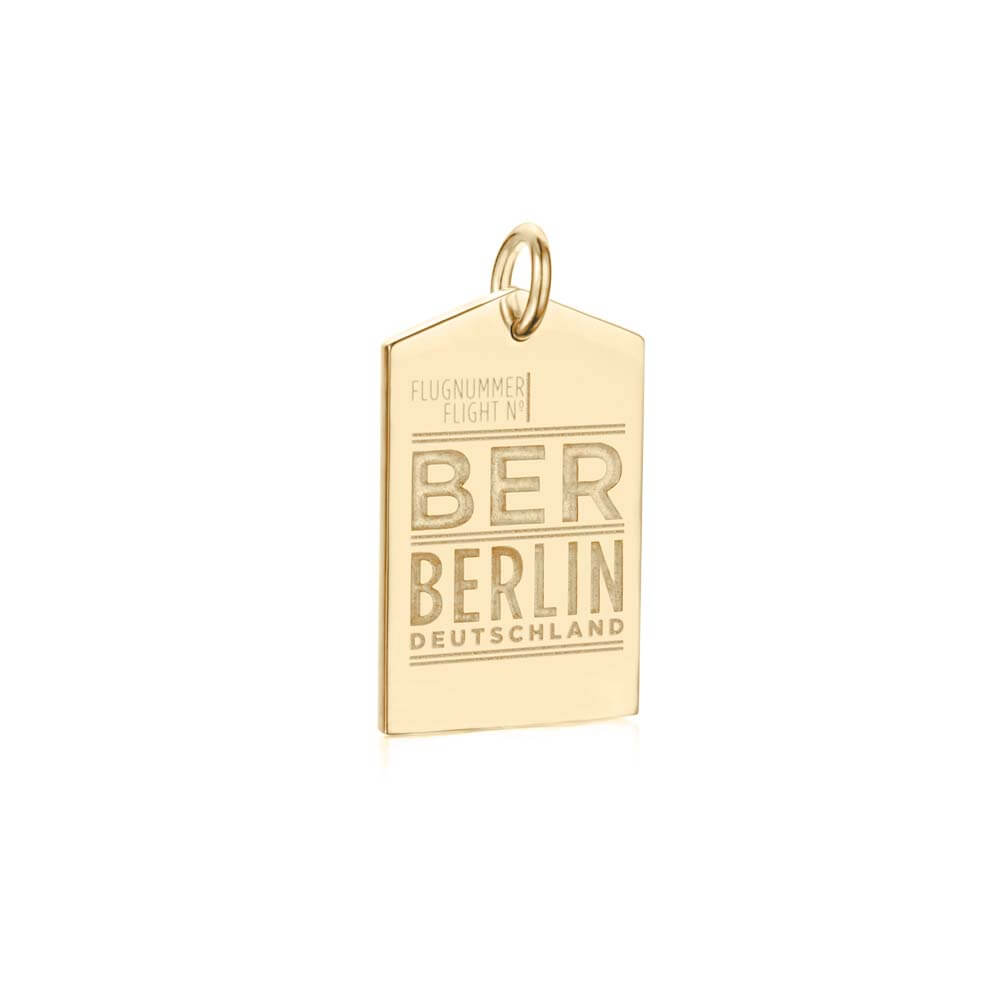 Gold Vermeil Berlin Charm, BER Luggage Tag - JET SET CANDY