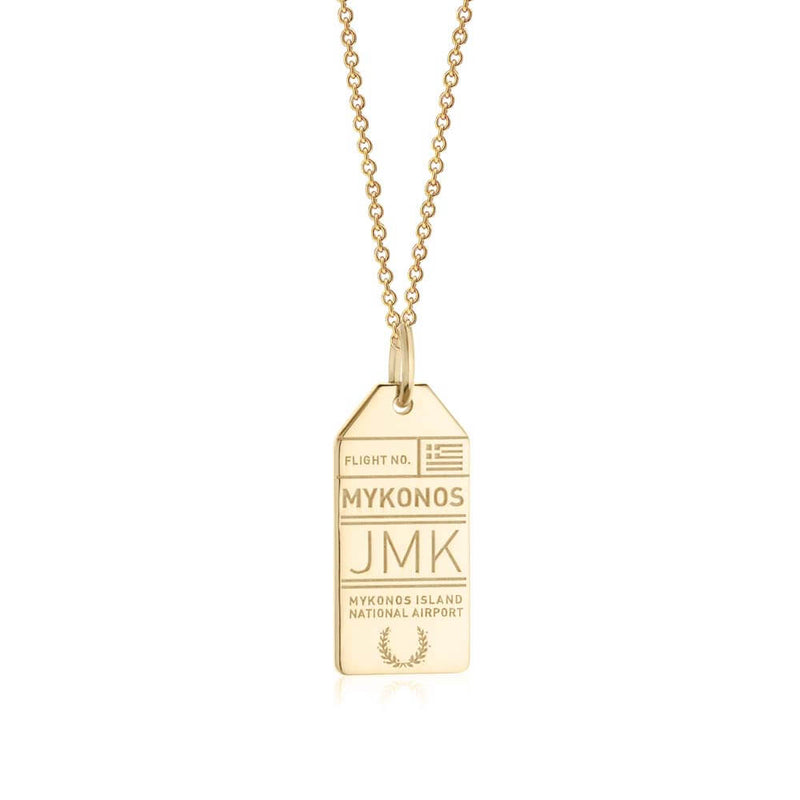 Gold Vermeil Greece Charm, JMK Mykonos Luggage Tag - JET SET CANDY