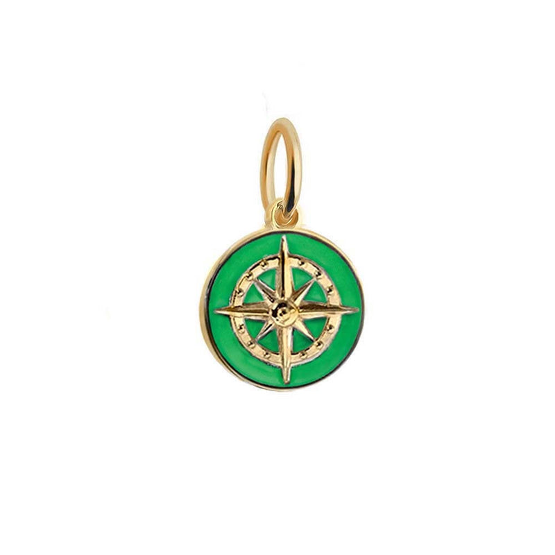 Gold Mini Green Enamel Compass Charm - JET SET CANDY