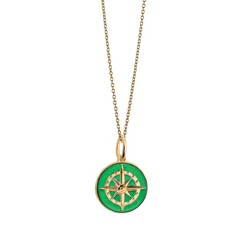 Large Gold Green Enamel Compass Charm (BACK ORDER-SHIPS LATE MARCH) - JET SET CANDY