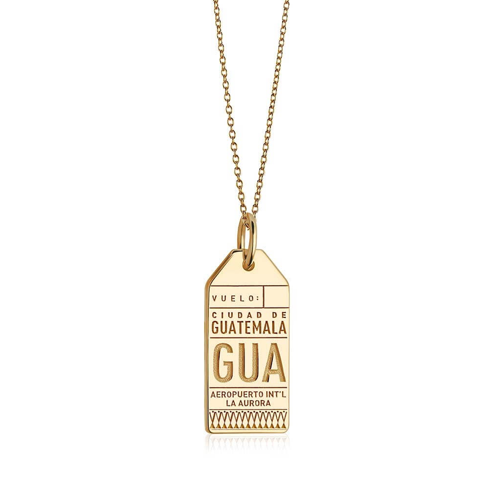 Gold Travel Charm, GUA Guatemala Luggage Tag - JET SET CANDY