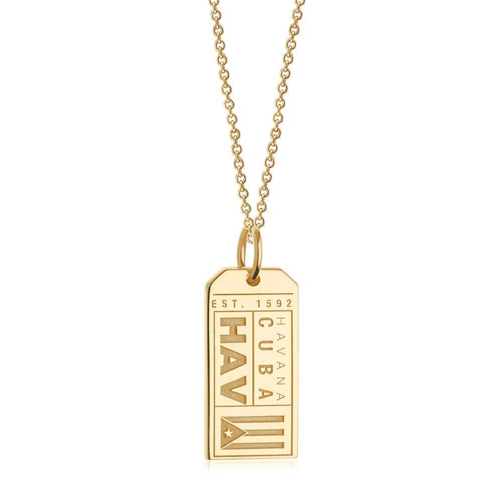 Gold Cuba Charm, HAV Havana Luggage Tag - JET SET CANDY