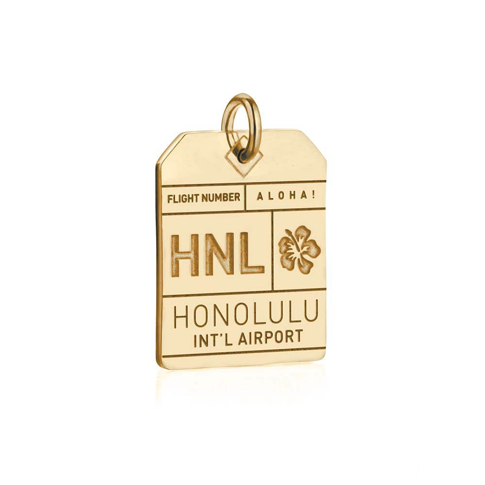 Gold Hawaii Charm, HNL Honolulu Luggage Tag (SHIPS JUNE) - JET SET CANDY