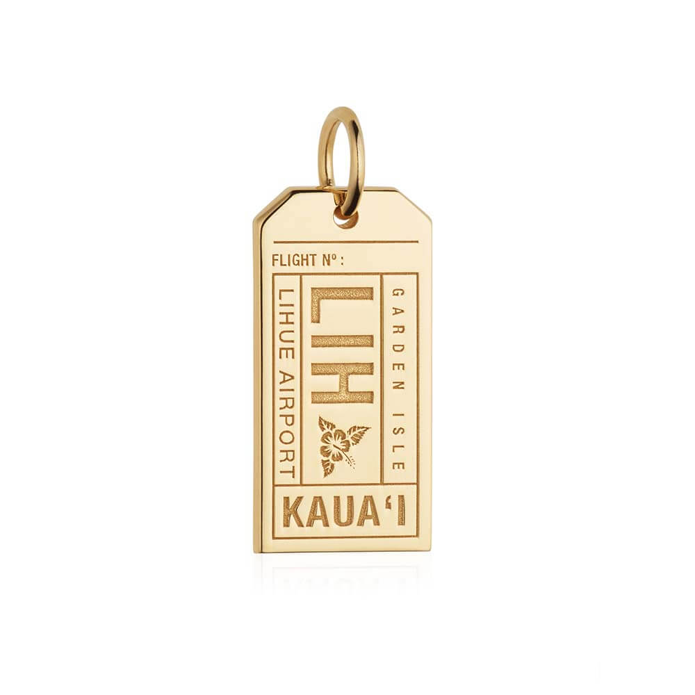 Gold Hawaii Charm, LIH Lihue Luggage Tag - JET SET CANDY