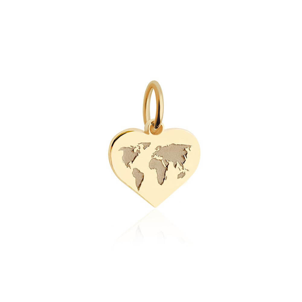 Mini Gold World Heart Map Charm (SHIPS JUNE) - JET SET CANDY