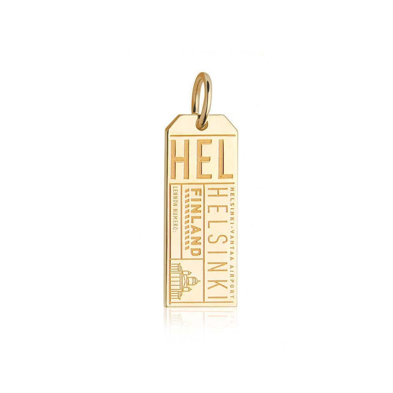 Gold Vermeil Finland Charm, HEL Helsinki Luggage Tag - JET SET CANDY