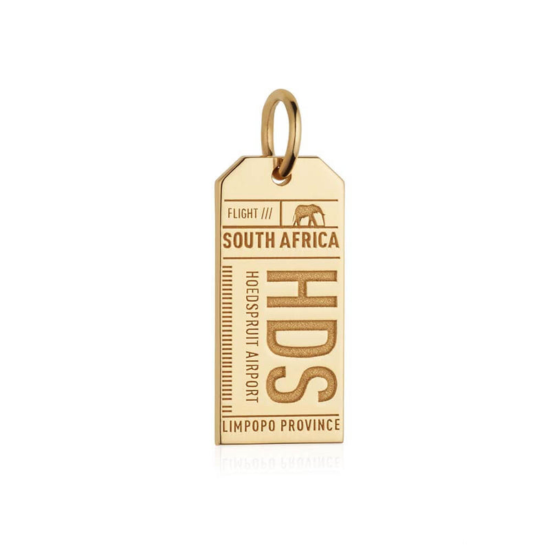 Solid Gold HDS Hoedspruit Luggage Tag Charm