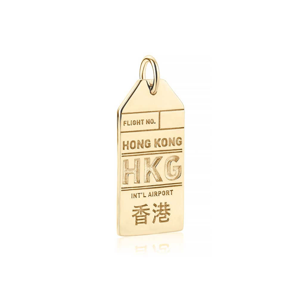 Solid Gold Hong Kong HKG Luggage Tag Charm - JET SET CANDY