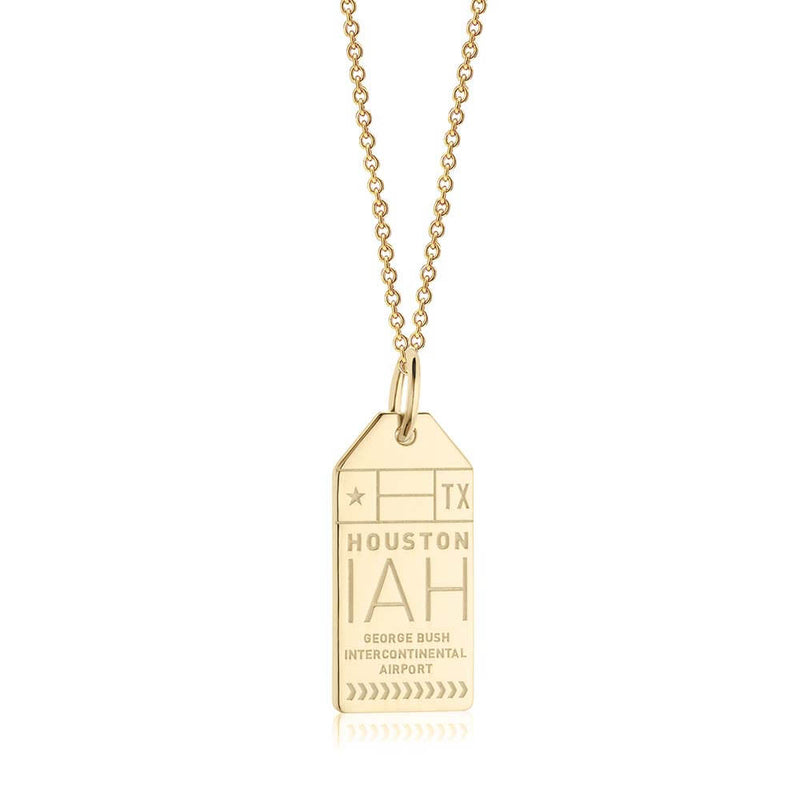 Gold USA Charm, IAH Houston Luggage Tag - JET SET CANDY