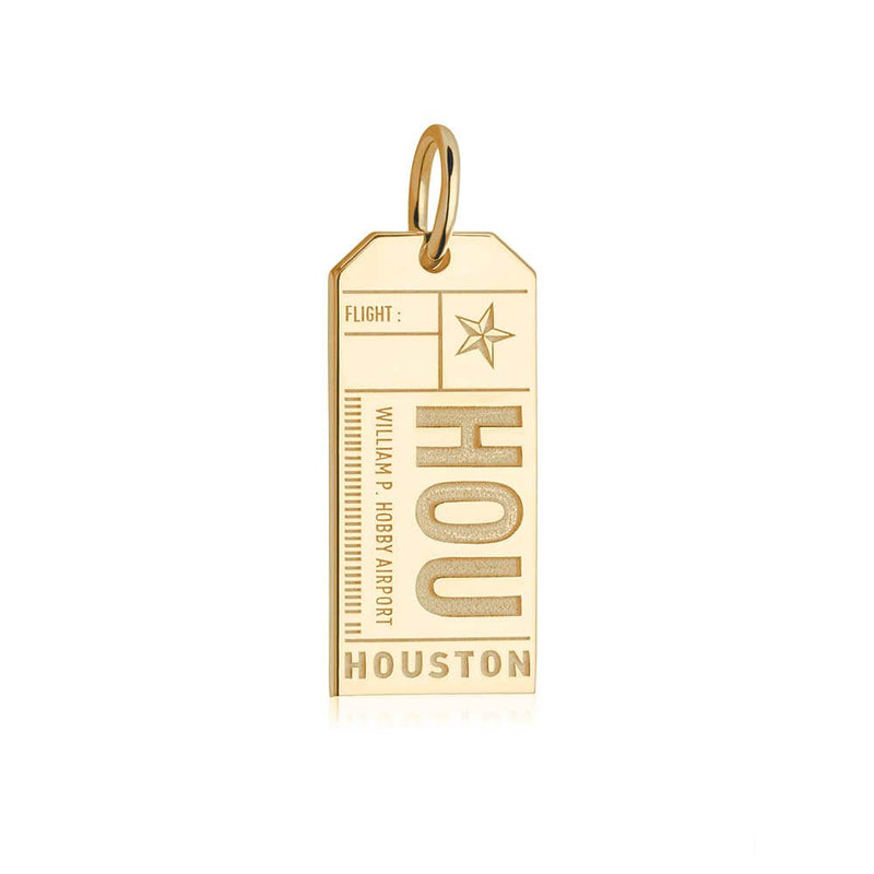 Gold Texas Charm, HOU Houston Luggage Tag - JET SET CANDY