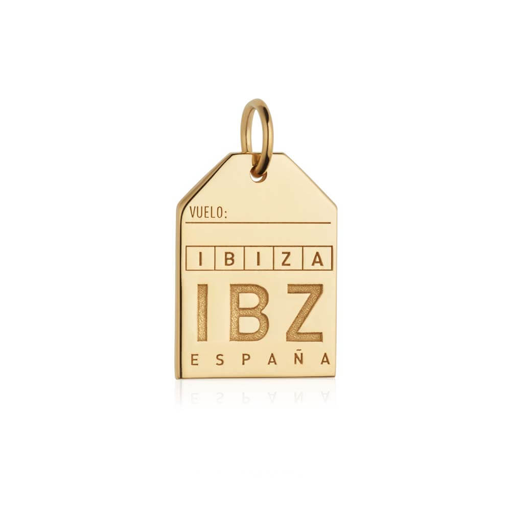 Gold Spain Charm, IBZ Ibiza Luggage Tag - JET SET CANDY