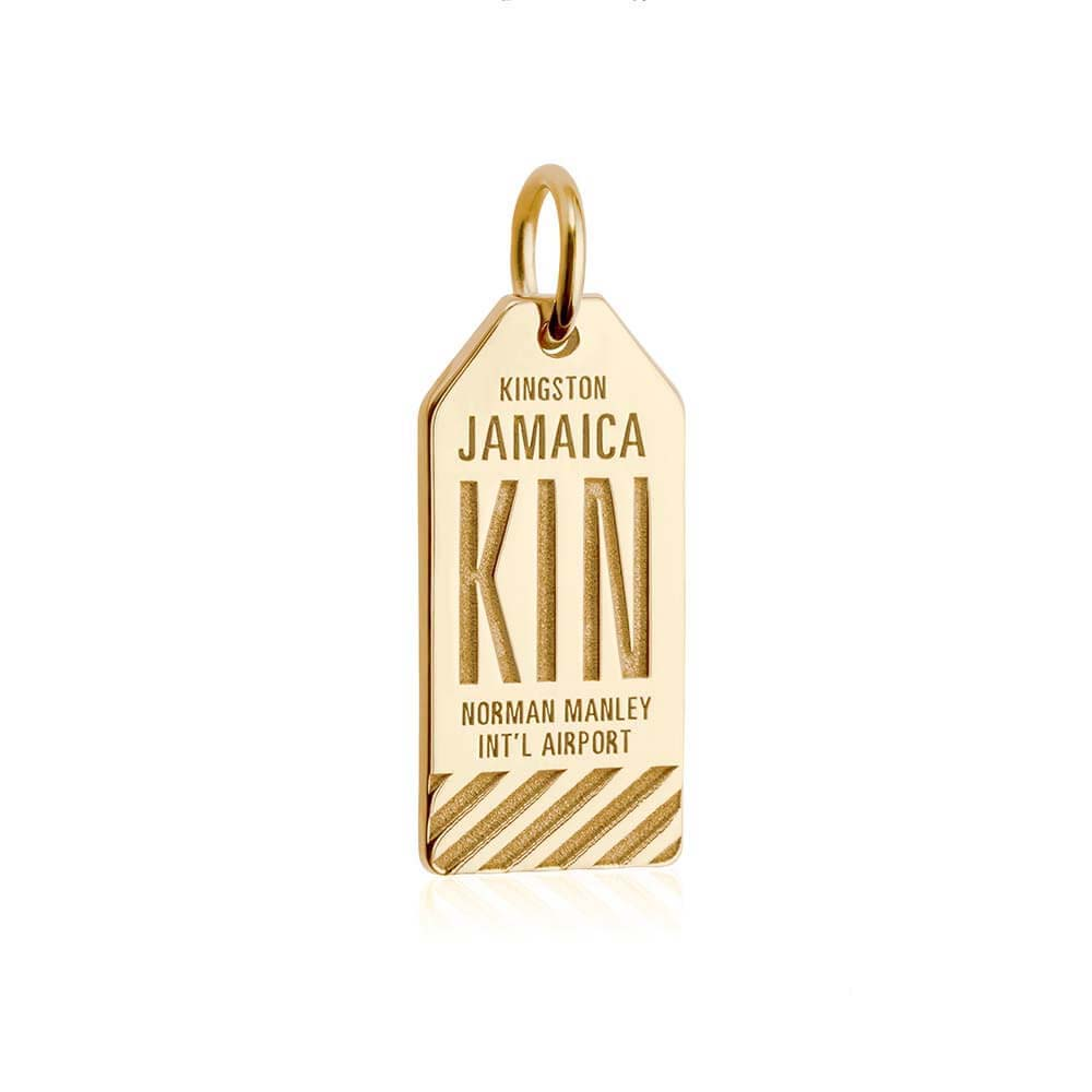 Gold Caribbean Charm, KIN Jamaica Luggage Tag - JET SET CANDY