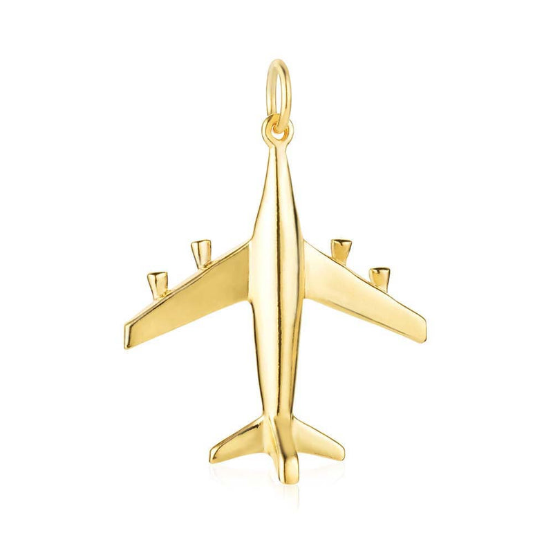 Gold Airplane Charm, Large - JET SET CANDY