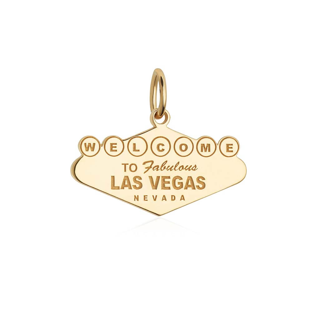 Solid Gold Welcome to Vegas Sign Charm - JET SET CANDY