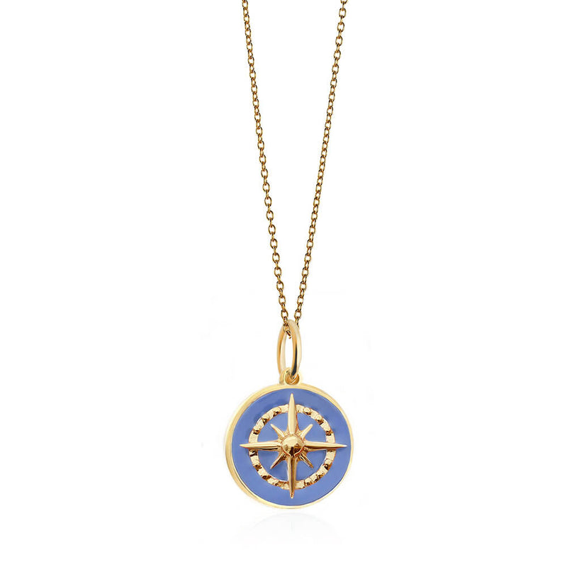 Large Gold Light Blue Enamel Compass Charm - JET SET CANDY