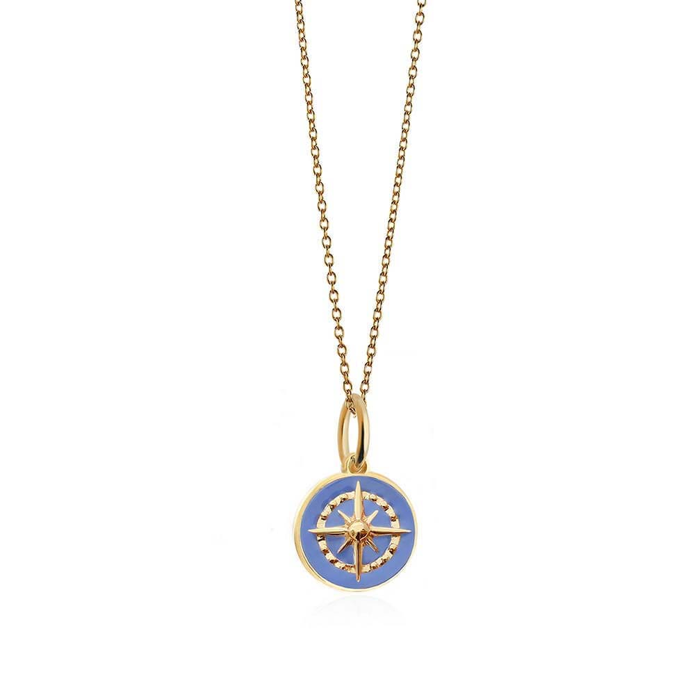 Gold Mini Light Blue Enamel Compass Charm - JET SET CANDY