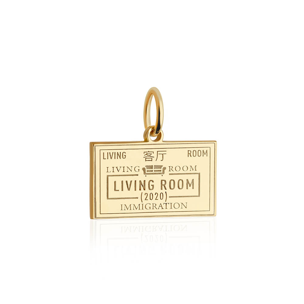 PRE ORDER: Gold Living Room Passport Stamp Charm (SHIPS LATE MARCH)