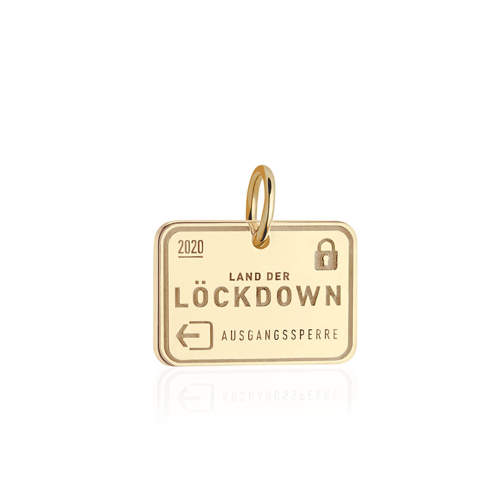PRE ORDER: Gold Lockdown Passport Stamp Charm (SHIPS LATE MARCH)