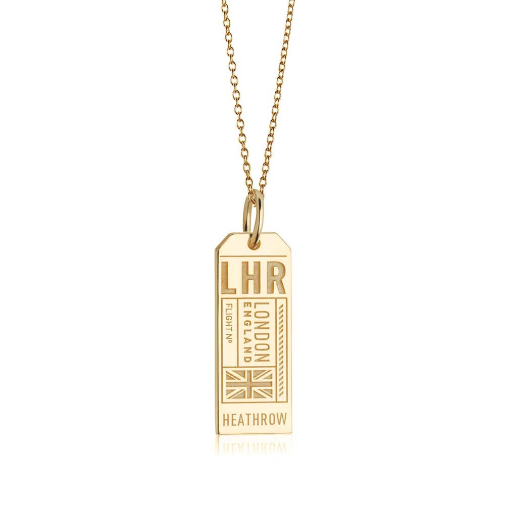 Gold Vermeil England Charm, LHR London Luggage Tag (BACK-ORDER-SHIPS MARCH) - JET SET CANDY