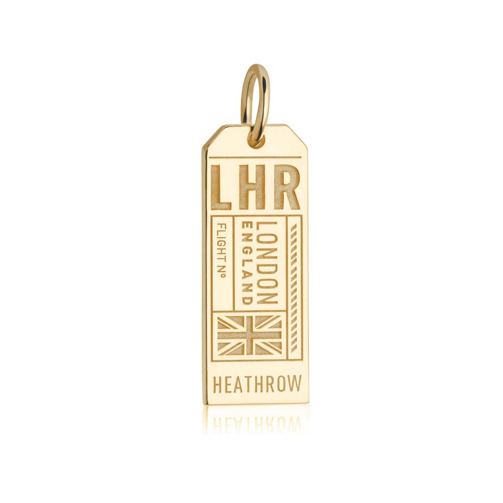 Gold Vermeil England Charm, LHR London Luggage Tag - JET SET CANDY