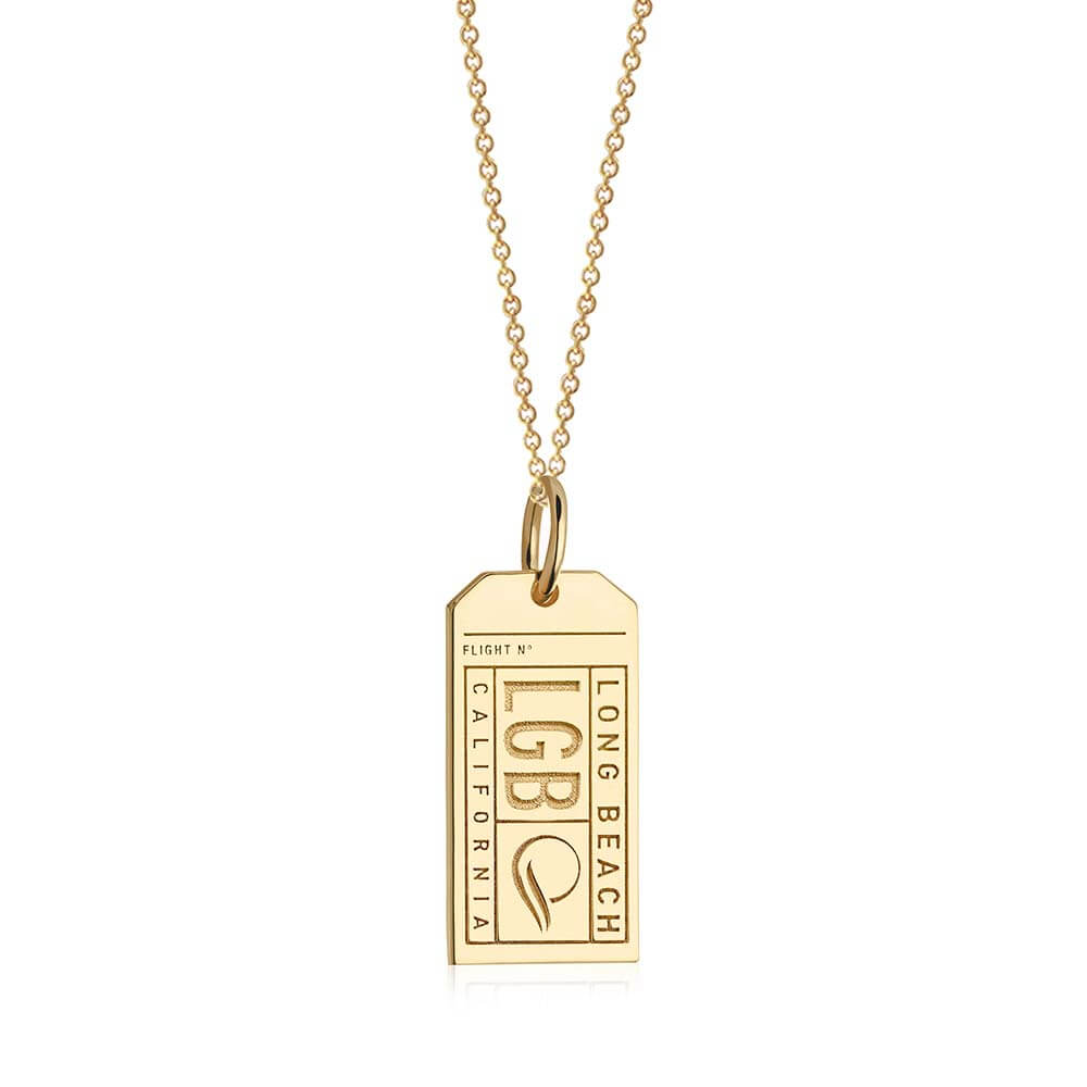 Gold USA Charm, LGB Long Beach Luggage Tag - JET SET CANDY