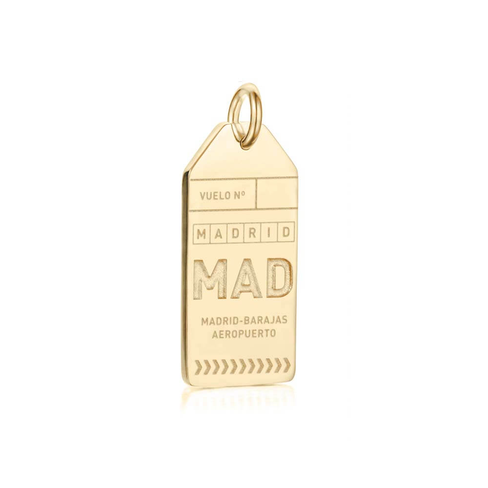 Gold Spain Charm, MAD Madrid Luggage Tag - JET SET CANDY