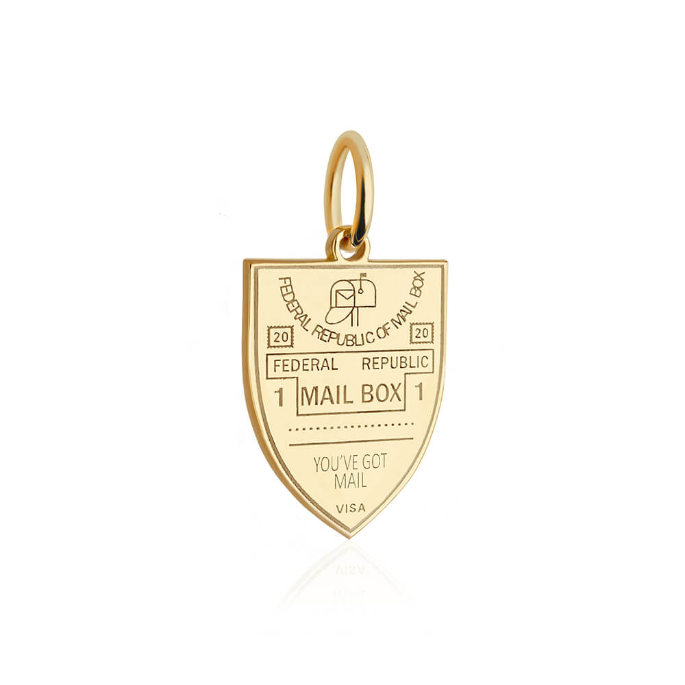 PRE ORDER: Gold Mailbox Passport Stamp Charm (SHIPS LATE APRIL)