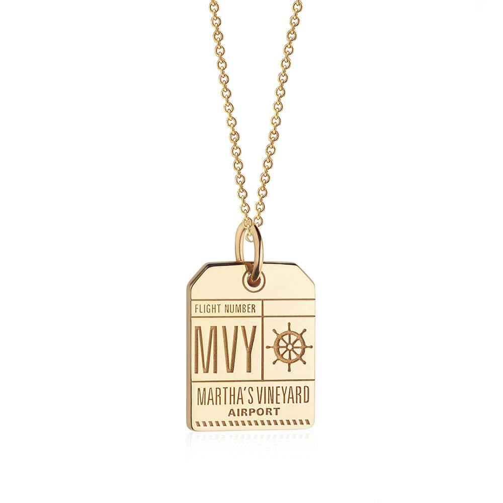 Gold Martha's Vineyard Charm, MVY Luggage Tag - JET SET CANDY