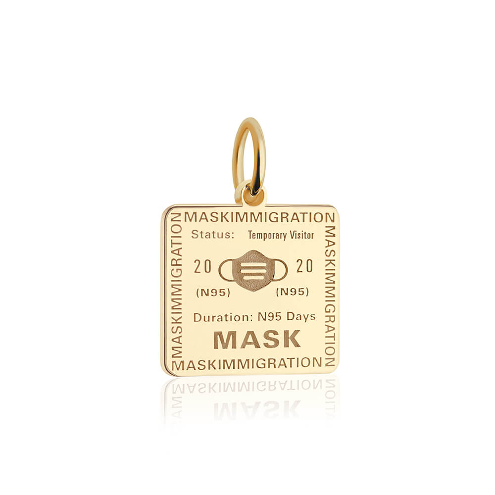 PRE ORDER: Solid Gold Mask Passport Stamp Charm (Allow 8 weeks)