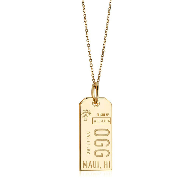 Gold Hawaii Charm, OGG Maui Luggage Tag - JET SET CANDY