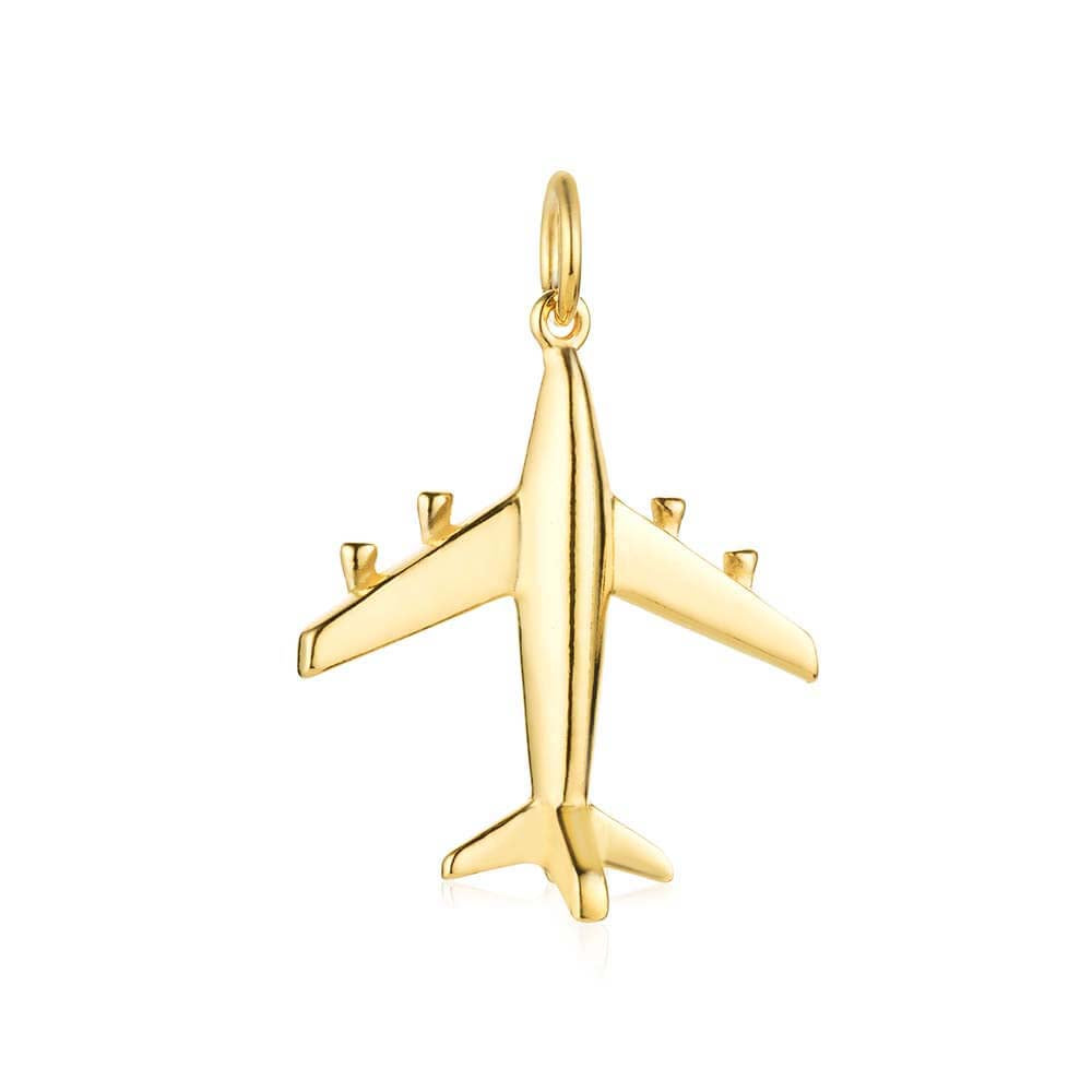 Gold Airplane Charm, Medium (BACK-ORDER-SHIPS MAY) - JET SET CANDY